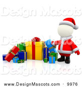 Illustration of a 3d White Santa with a Group of Christmas Gifts by Andresr