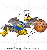 Illustration of a Bald Eagle Dribbling a Basketball by Toons4Biz
