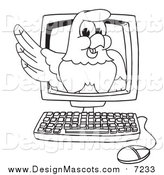 Illustration of a Bald Eagle Hawk or Falcon on a Computer Screen by Toons4Biz