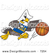 Illustration of a Bald Eagle Mascot Basketball Player by Toons4Biz