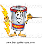 Illustration of a Battery Mascot Holding a Bolt of Energy and a Pointer Stick by Toons4Biz