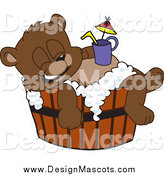 Illustration of a Bear Cub Mascot Bathing in a Barrel with a Drink on His Belly by Toons4Biz