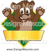 Illustration of a Bear Cub Mascot over a Green Diamond and Blank Gold Banner by Toons4Biz