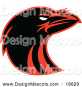 Illustration of a Black and Red Raven Head Mascot by Patrimonio