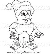 Illustration of a Black and White Bald Eagle Hawk or Falcon Wearing a Santa Hat by Toons4Biz