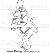 Illustration of a Black and White Panther Character Mascot Playing Baseball by Toons4Biz