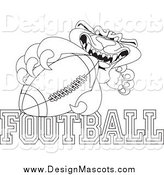 Illustration of a Black and White Panther Character Mascot with Football Text by Toons4Biz