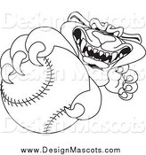 Illustration of a Black and White Panther Mascot Grabbing a Baseball by Toons4Biz