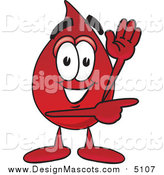 Illustration of a Blood Drop Mascot Waving and Pointing by Toons4Biz
