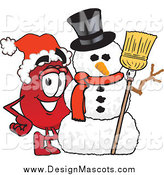 Illustration of a Blood Drop Mascot with a Christmas Snowman by Toons4Biz