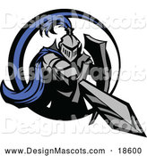 Illustration of a Blue and Gray Knight Mascot Stabbing with a Sword by Chromaco