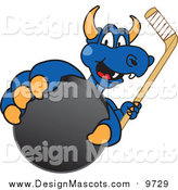 Illustration of a Blue Dragon Mascot Grabbing a Hockey Puck by Toons4Biz