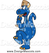 Illustration of a Blue Dragon Mascot with a Baseball Bat by Toons4Biz