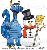 October 8th, 2015: Illustration of a Blue Dragon Mascot with a Snowman by Toons4Biz