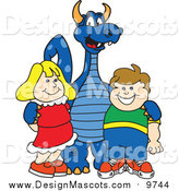 Illustration of a Blue Dragon with Students by Toons4Biz