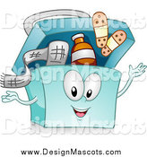Illustration of a Blue First Aid Kit Character with Bandages and Medicine by BNP Design Studio
