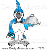 Illustration of a Blue Jay Character Mascot Serving Food by Toons4Biz
