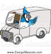 Illustration of a Blue Jay Mascot Driving a Delivery Van by Toons4Biz