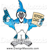Illustration of a Blue Jay School Mascot Holding a Report Card by Toons4Biz
