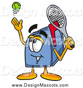 Illustration of a Blue Mailbox Mascot Serving a Tennis Ball by Toons4Biz