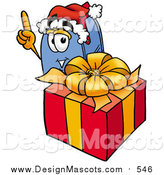 October 2nd, 2015: Illustration of a Blue Postal Mailbox Mascot Standing by a Christmas Present by Toons4Biz