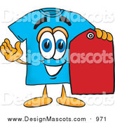 Illustration of a Blue T-Shirt Mascot Holding a Red Sales Price Tag by Toons4Biz