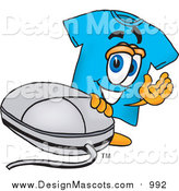 Illustration of a Blue T-Shirt Mascot with a Computer Mouse by Toons4Biz