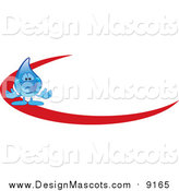 Illustration of a Blue Water Drop Mascot Logo with a Red Dash by Toons4Biz
