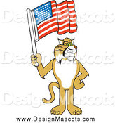 Illustration of a Bobcat Mascot Holding a Flag by Toons4Biz