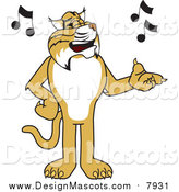 Illustration of a Bobcat Mascot Singing by Toons4Biz
