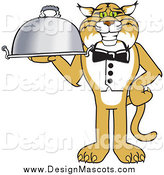 Illustration of a Bobcat Mascot Waiter Serving a Platter by Toons4Biz
