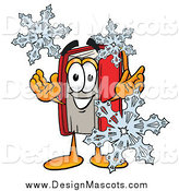 Illustration of a Book Mascot with Winter Snowflakes by Toons4Biz