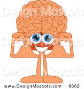 Illustration of a Brain Mascot Flexing His Muscles by Toons4Biz