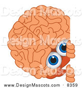 Illustration of a Brain Mascot Looking Around a Blank Sign by Toons4Biz