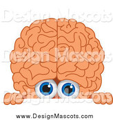 Illustration of a Brain Mascot Looking over a Blank Sign by Toons4Biz