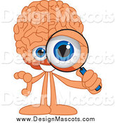 Illustration of a Brain Mascot Looking Through a Magnifying Glass by Toons4Biz