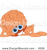 Illustration of a Brain Mascot Reclining by Toons4Biz