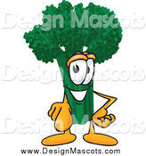 Illustration of a Broccoli Mascot Pointing Outwards by Toons4Biz