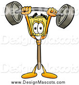 Illustration of a Broom Mascot Lifting a Heavy Barbell Above His Head by Toons4Biz