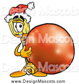 Illustration of a Broom Mascot with a Red Christmas Bauble by Toons4Biz