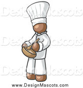 Illustration of a Brown Baker Chef Stirring Ingredients in a Bowl by Leo Blanchette