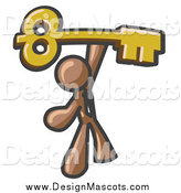 Illustration of a Brown Business Man Holding a Large Golden Skeleton Key by Leo Blanchette