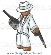 Illustration of a Brown Gangster Carrying a Gun and Leaning on a Cane by Leo Blanchette
