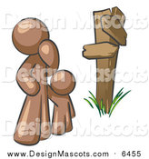 Illustration of a Brown Man and Child Standing at a Wooden Post, Trying to Decide Which Direction to Go at a Crossroads by Leo Blanchette