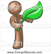 Illustration of a Brown Man Holding a Green Leaf by Leo Blanchette