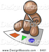 Illustration of a Brown Man Holding a Pair of Scissors and Sitting on a Large Board with Colorful Shapes by Leo Blanchette