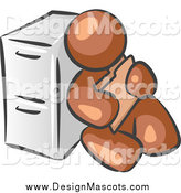 June 19th, 2015: Illustration of a Brown Man Sitting Against a Filing Cabinet and Holding a Folder by Leo Blanchette