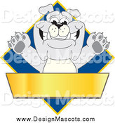 Illustration of a Bulldog Mascot on a Blue Diamond Above a Blank Gold Banner by Toons4Biz