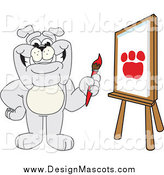 March 24th, 2014: Illustration of a Bulldog Mascot Painting a Paw Print by Toons4Biz