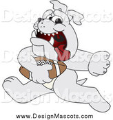 Illustration of a Bulldog Mascot Running with a Football by Toons4Biz